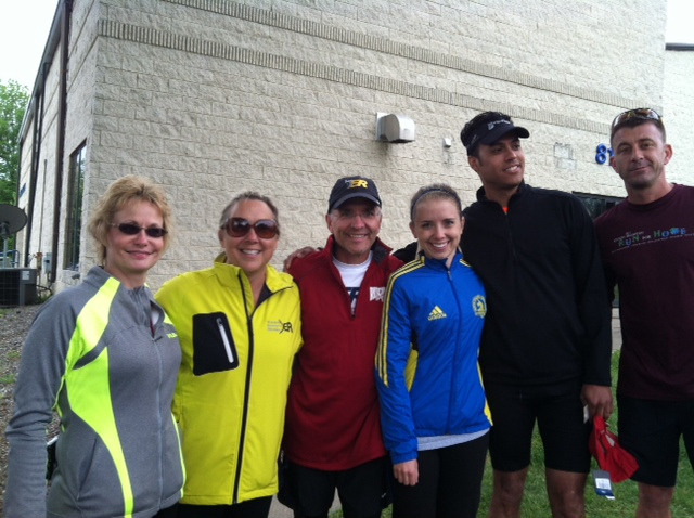 Ray Fryan with wife, daughter and friends after they ran the Tallmadge 5k