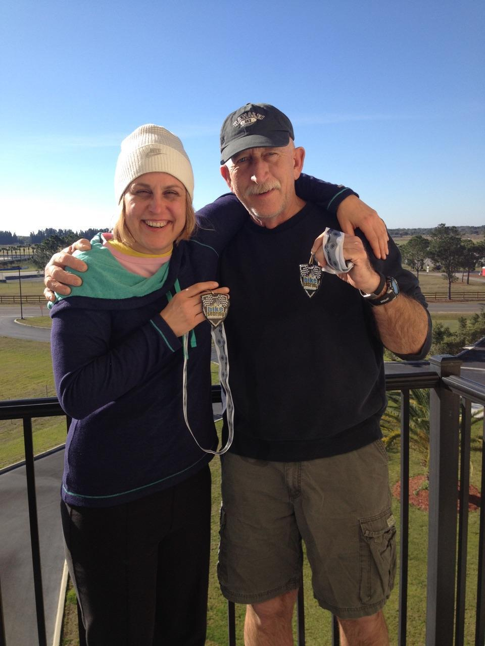 Cassie and Wally after winning their age groups at the Florida Sebring 12 hour bike race