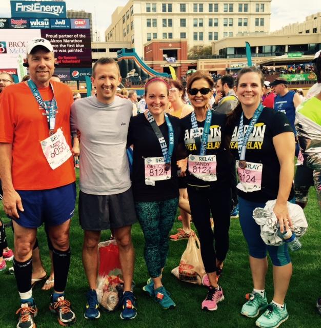 Relay Team Runzzz Akron Marathon RT, Steve, Middle, Gretchen