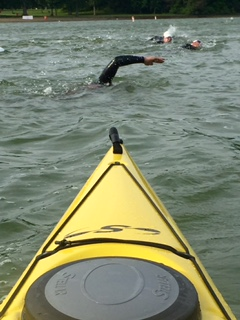 Scotts view from his Kayak as he watches over the swim of the Great Western Tri